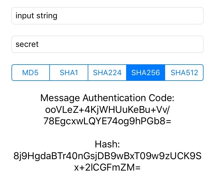 Using CCHmac for creating message authentication codes