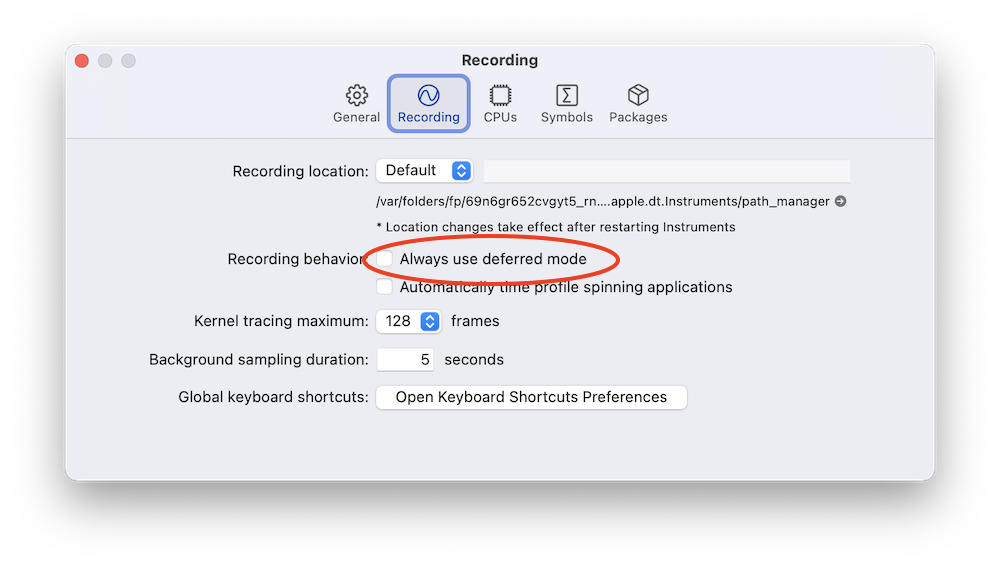 Always use deferred mode in Instruments preferences