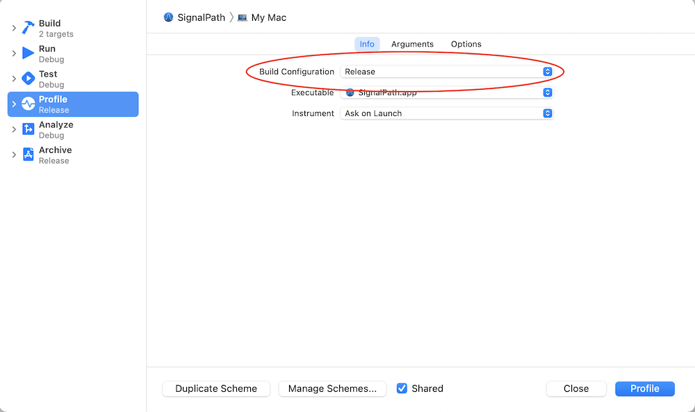 Xcode edit scheme view showing build configuration setting set to release
